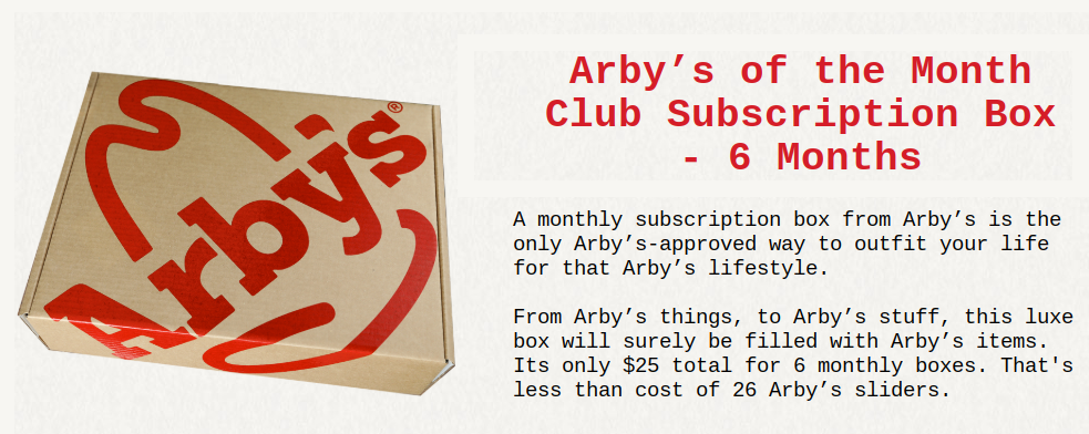 Arby's swag products